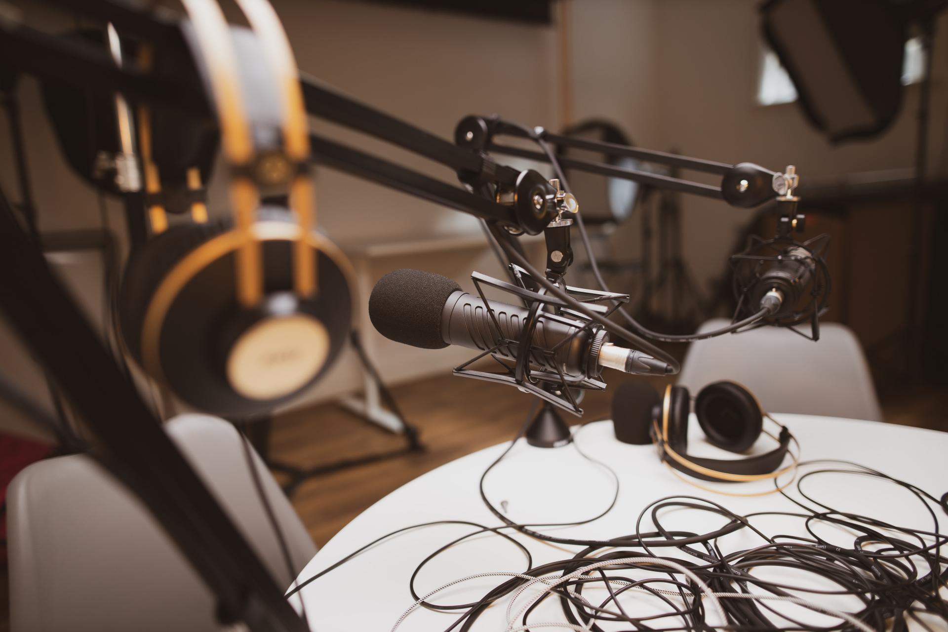 Podcast equipment in a sound studio