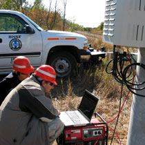 Grad students working on wireless project with BNSF