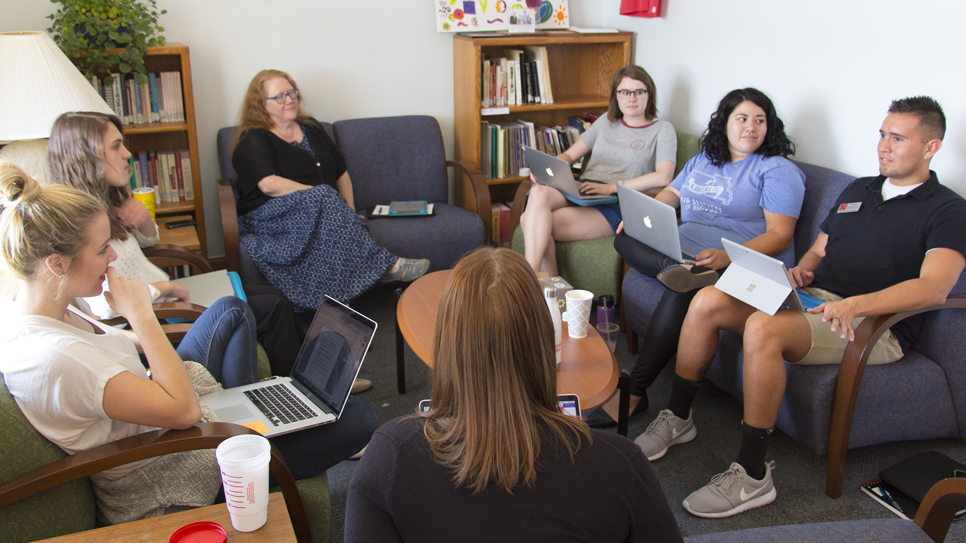 Students meet at the Women's Center to plan upcoming events