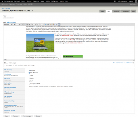 Screenshot of a page being edited on the U N L c m s system with the U N L Access tab visible
